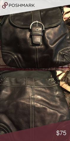 Black Leather Authentic Coach purse Leather with Silver buckles and accents Coach Bags Satchels