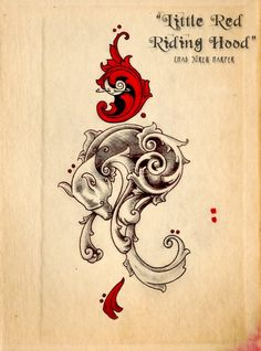 Red Riding Hood Tattoo Design 2 by ~collisionofpale on deviantART I'd make alterations on the red and cut down the wolf swirls