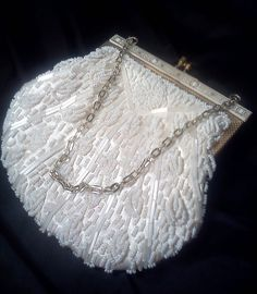 Vintage Beaded White Evening Bag Purse Kiss by WeeLambieVintage, $9.50