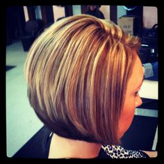 Highlights and lowlights on a stacked bob.