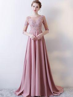 A Line Half Sleeve Applique Long Prom Dress - Cute Dresses Evening Dresses With Sleeves, A Line Prom Dresses, Beautiful Prom Dresses, Trendy Dresses, Elegant Dresses, Cute Dresses, Evening Gowns, Casual Dresses, Short Dresses