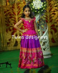 Image may contain: 1 person, standing Frocks For Girls, Little Girl Dresses, Girls Dresses, Kids Blouse Designs, Dress Designs, Kids Dress Wear, Kids Wear, Kids Ethnic Wear, Designer Blouse Patterns