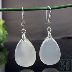 Rainy Jewel  natural chalcedony long drop earrings 925 silver earrings jade upscale >>> See this great product.(This is an Amazon affiliate link and I receive a commission for the sales)