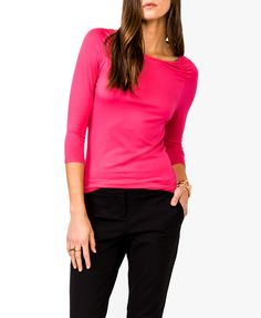 $13 Essential 3/4 Sleeve Top | FOREVER21 - 2030188081