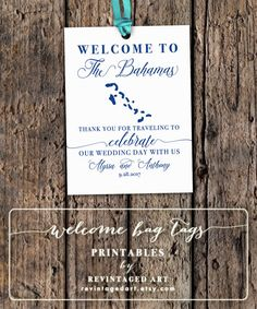 Any Country Welcome Bag Tags // Printable Custom by RevintagedArt