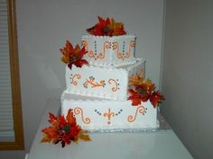 Image detail for -... Offset Wedding Cake Harley Autumn Theme 2 by Shalan on Cake Central