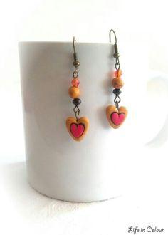 Orecchini con cuori in fimo e perline colorate - www.fb.com/lifeincolour.accessori #earrings #hearts