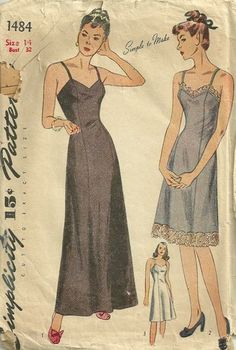 Simplicity 1484 1940s Misses Day Evening Slip Pattern Princess Seams - Womens Vintage Sewing Pattern from the 40s