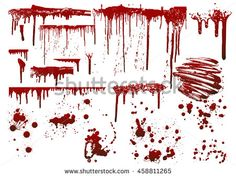 Set of various blood or paint splatters,Vector Set of different blood splashes, drops and trail. Isolated on white background. All elements grouped, no effects,Set of various blood in halloween day