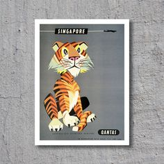 1960s Quantas // Singapore // Tiger // Artist: Harry Rogers // High Quality Fine Art Reproduction Giclée Print // Vintage Travel Art by WiredWizardWeb on Etsy