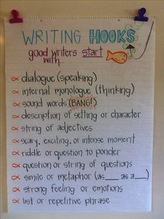 Grade Anchor Charts to Try in Your Classroom Writing HOoks Anchor ChartWriting HOoks Anchor Chart Writing Strategies, Writing Lessons, Teaching Writing, Writing Activities, Writing Skills, Writing Ideas, Writing Process, 5th Grade Activities, Grammar Lessons