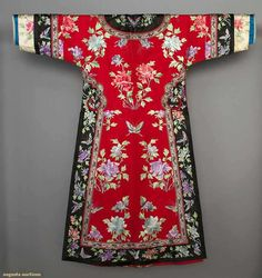 China, Lady's Embroidered Robe, red silk, peony & butterfly embroidery, embroidered black satin trim, side closure w/ brass ball buttons, 1900-1920