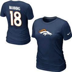 Denver Broncos Peyton 18 Manning Name & Number Women's T-Shirt Blue