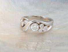 bezel set bubble diamond ring in 14k white gold  by RavensRefuge, $2571.00