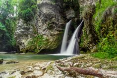 Double waterfall in the Swiss Jura region