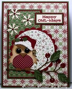 Christmas card ... luv the woodsy winter print papers ... focal point owl is way tooo cute with his Santa hat and polka dot belly...