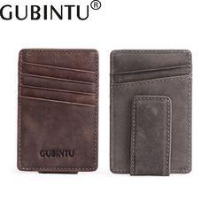 GUBINTU 2017 new Genuine Leather Card holder Men and Women wallet First layer Scrub Creative simple purse B3008-1 #Affiliate