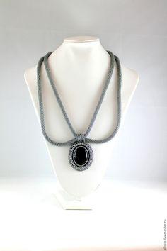 "Necklace ""The Duchess"" - black, grey, hendmade, buy a gift, buy handmade"