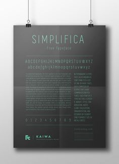 SIMPLIFICA Typeface | Free by K A I W A, via Behance