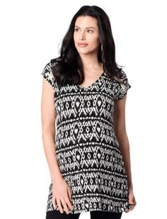 Loveappella Short Sleeve V-neck Maternity Tunic