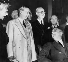 1936 -- Franklin D. Roosevelt --  The Republican Governor of Kansas and presidential candidate, Alfred Landon (1887 - 1987) greeting the American President Franklin Delano Roosevelt (1882 - 1945) (seated) prior to the presidential elections. Future United States President Harry S. Truman can been seen in the background. (Photo by Keystone/Getty Images)