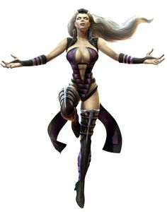Sindel is a character in the Mortal Kombat fighting game series. She made her debut in Mortal Kombat 3. In spite of her gloomy, gothic appearance, Sindel is benevolent in nature. She rules the realm of Edenia alongside her daughter, Princess Kitana. Sindel's power appears to be more one of an inner, ethereal nature in more than one way. She is a distinctly older and mature character, with flowing grey hair and a regal attitude befitting of her role as Queen of Edenia. She has a natural...