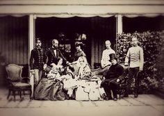 # The whole royal family together.  (Franz Josef, Maximilian, Charlotte, Ludwig Viktor, Karl Ludwig & Elisabeth, Rudolf, Gisela, Sophie, Franz Karl)