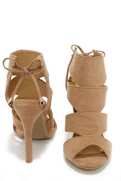 Flavor and Rhythm Camel Suede Lace-Back Heels at Lulus.com!