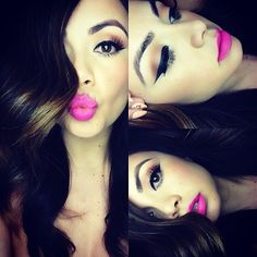Nothing screams spring like a cheerful pop of pink color on your lips, and we are positively loving this gorgeous look. Get perfect pink lips make-up look with Flawless Makeup, Gorgeous Makeup, Love Makeup, Pretty Makeup, Perfect Makeup, Gorgeous Hair, Makeup Ideas, Classy Makeup, Bright Makeup