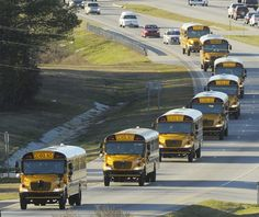 """The funeral procession of slain bus driver Charles """"Chuck"""" Poland makes its way down Highway 231 in Ozark, Ala., Sunday Over 60 motorcycles and dozens of school buses join the funeral procession. Toy School Bus, School Bus For Sale, Buses For Sale, School Bus Driver, Retro Bus, Safe Schools, How To Focus Better, Football Cheerleaders, Wheels On The Bus"""