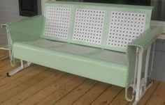 Restored+Basketweave+Metal+Three-seat+Vintage+Old+Porch+Glider