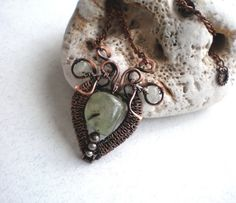 Copper wire pendant with prehnite Wire wrapped by BikiLine on Etsy
