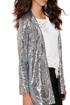 Silver Sequinted Long & Loose Open Blazer #genuine-people