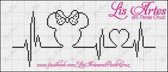 Mickey Mouse x-stitch heartbeat Cross Stitch Charts, Cross Stitch Patterns, Mickey Mouse Gloves, Minnie Mouse, Pixel Drawing, Stitch Cartoon, Crochet Disney, Free To Use Images, Disney Crafts