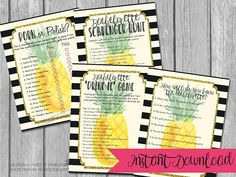 These FOUR printable pineapple bachelorette party games are the perfect way to get everyone in the mood to celebrate the bride-to-bes last fling before the ring! The bachelorette game bundle includes the following games:   ♥ Porn or Polish game   ♥ Bachelorette drink if game   ♥ Bachelorette scavenger hunt game   ♥ Bachelorette quiz - how well do you know the bride