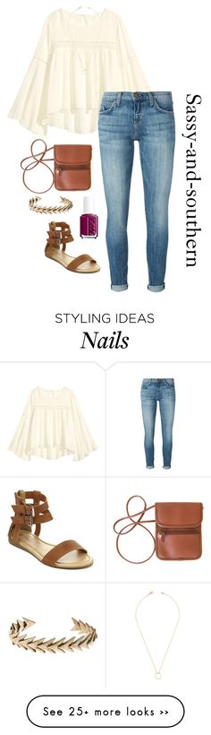 """Bohemian prep outfit"" by sassy-and-southern on Polyvore featuring H&M, Current/Elliott, Essie, Lucky Brand and Jeweliq"