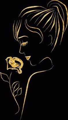 Girl Gold Painting on Canvas I will make any size on order. Drawing Sketches, Art Drawings, Scratchboard Art, Abstract Faces, Pencil Art, Black Art, Cute Wallpapers, Line Art, Illustration