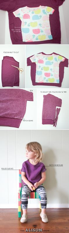 Sweatshirt t-shirt for kids tutorial