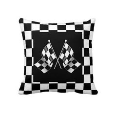 Unique, fashionable, trendy and cool double sided pillow case with cool auto racing flags design on a black and white checkered background. Made for the race fan!