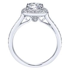 14k White Gold Diamond Halo Engagement Ring | Gabriel & Co NY | ER7525W44JJ