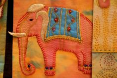 elephant wallhanging, quilted, kantha stitches