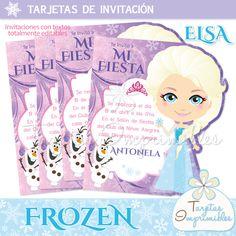 Kit de decoraciones, candy bar, cajitas e invitaciones Frozen https://www.facebook.com/TarjetasImprimibles