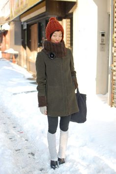 fabulous refashion of a winter coat with hand knitted collar.