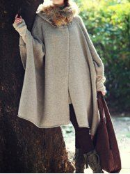 $15.28 Casual Loose-Fitting Batwing Sleeve Cape Design Women's Hooded Cardigan