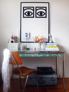 Desk space: texture/delicate color/white/found objects in Melbourne, Australia. Oh, and those eyes again...