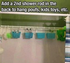 2nd Curtain Rod to hang baskets to hold toys, shampoos and other items to drain and item to keep out of children hands
