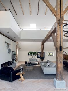 Modern Barn House, White Oak Floors, A Frame House, Decor Interior Design, Loft, Home And Living, Living Room Designs, Sweet Home, New Homes