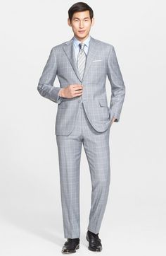 Canali Men's Big Tall Classic Fit Windowpane Wool Suit | Clothing