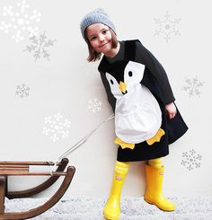 Girls Penguin Dress  by Wild Things Funky Little Dresses