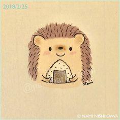 1424 お昼ご飯におにぎりどうぞ Have this for lunch. #illustration #hedgehog #イラスト #ハリネズミ #おにぎり #なみはりねずみ